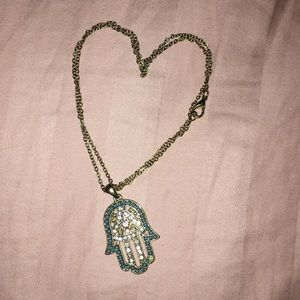Diamond Hamsa evil eye necklace